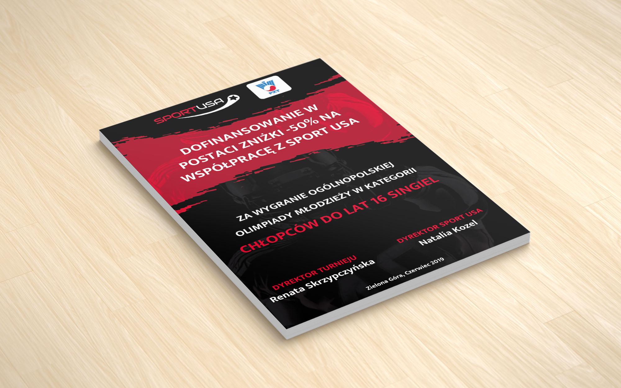 Wykonanie dyplomów i broszur informacyjnych dla SPORT USA