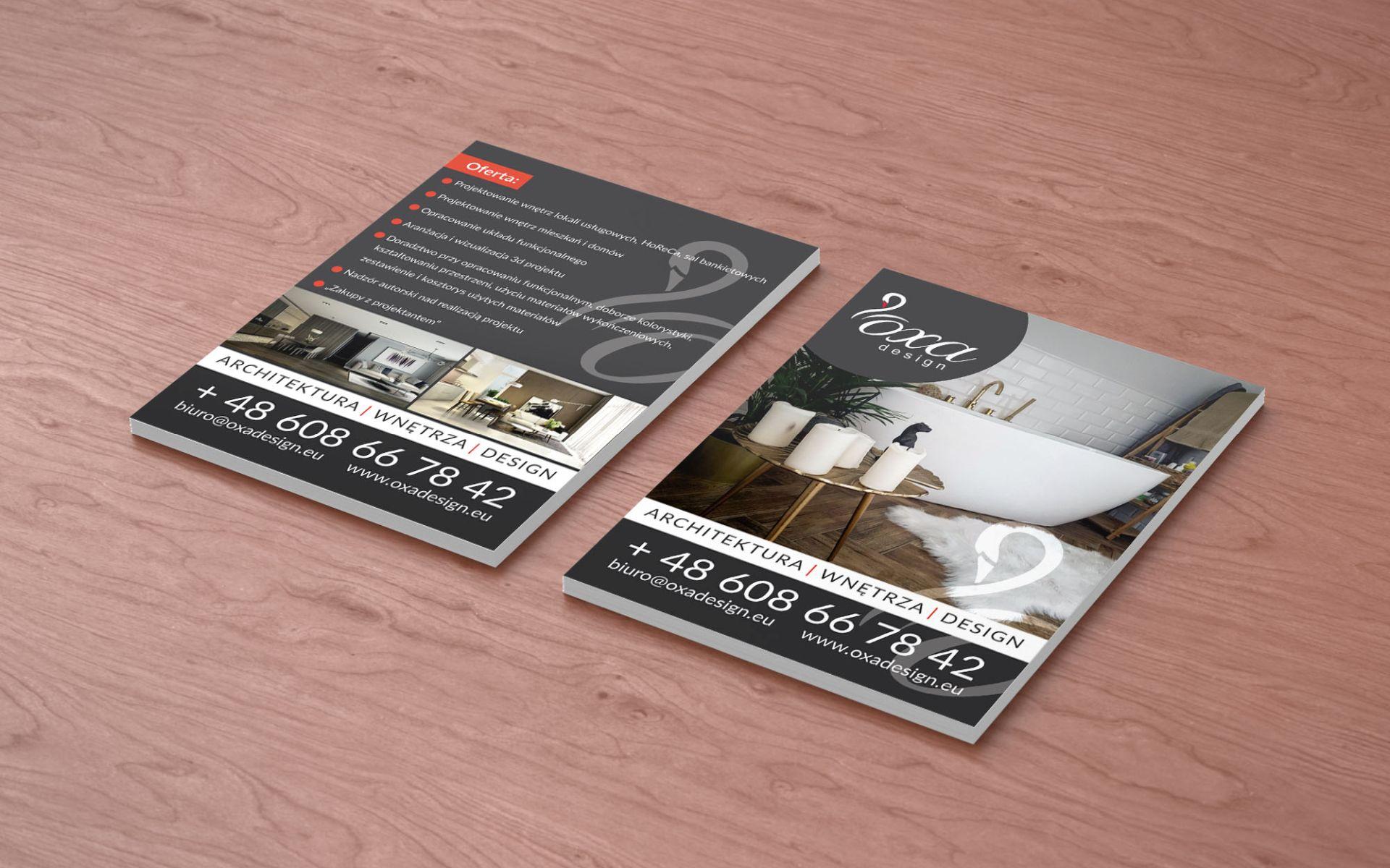 Wykonanie ulotek dla Oxa Design