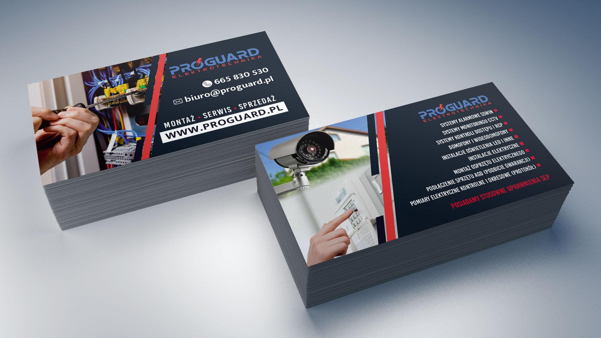 Projekt wizytówki dla firmy Proguard Eletrotechnika