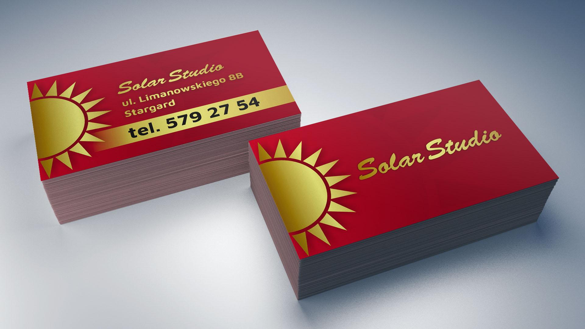 Projekt i wydruk wizytówek dla Solar Studio