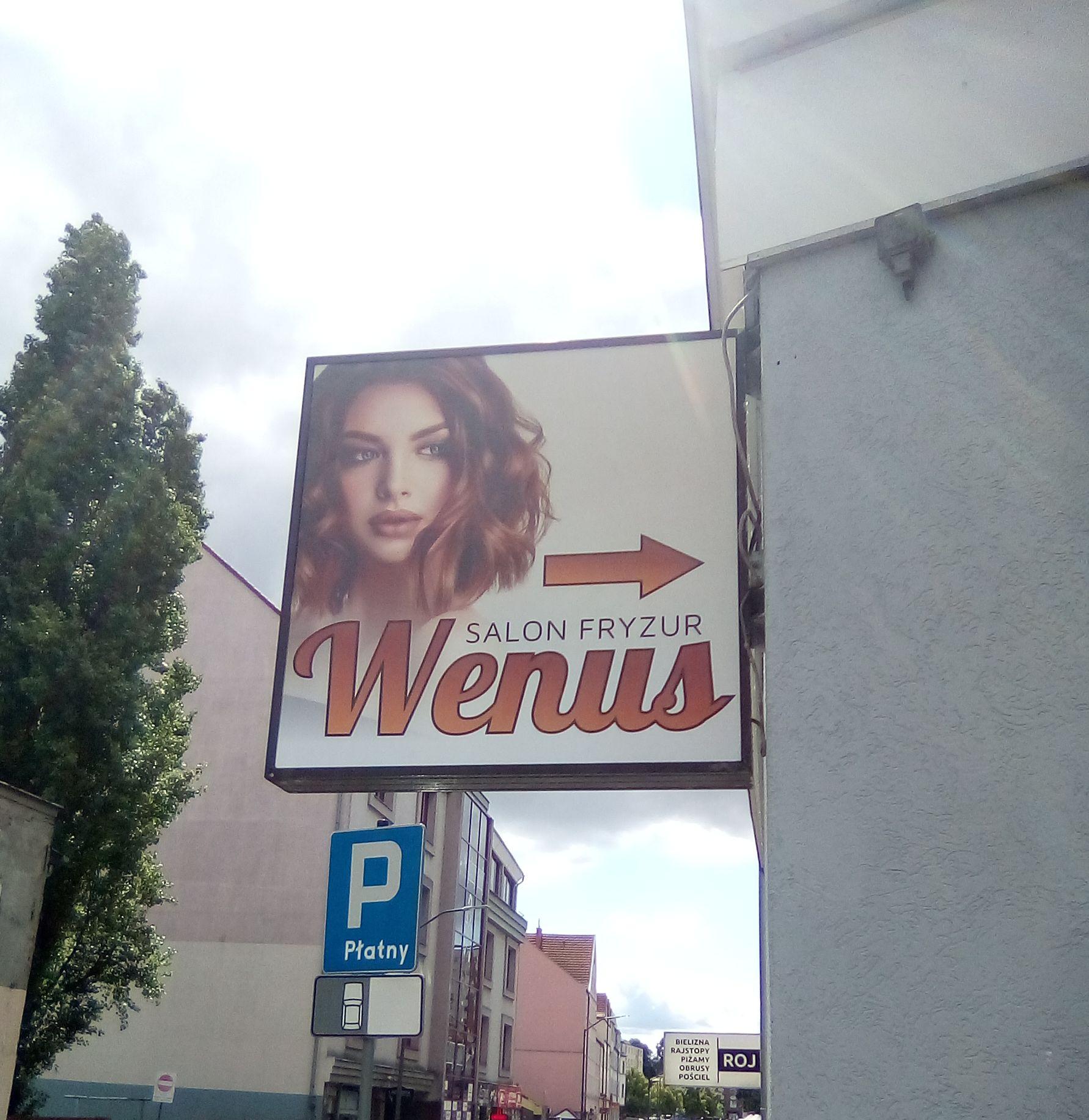 Oklejenie kasetonu i okna folią OWV dla Wenus Salonu fryzur