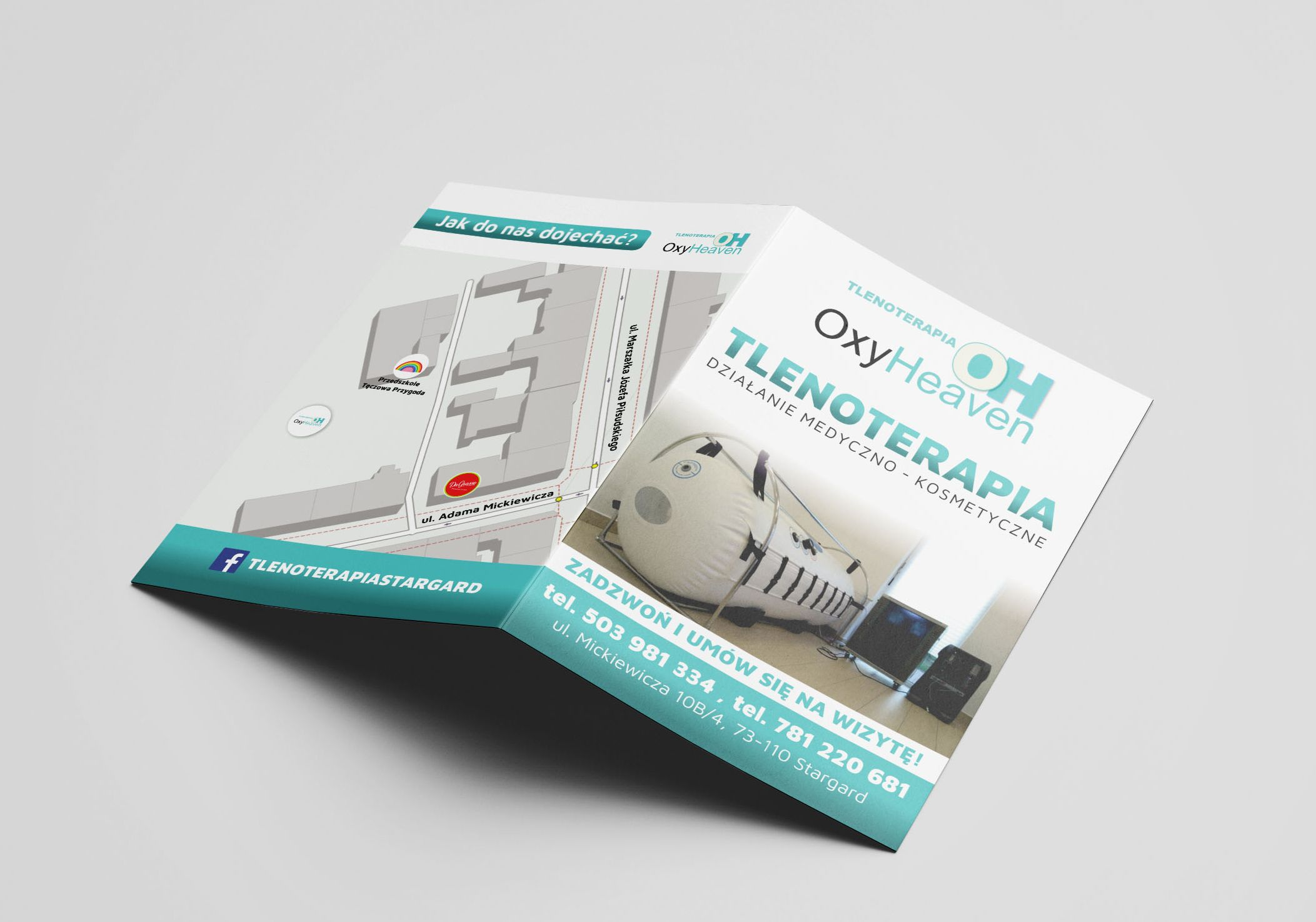 Ulotki informacyjne składane dla OxyHeaven