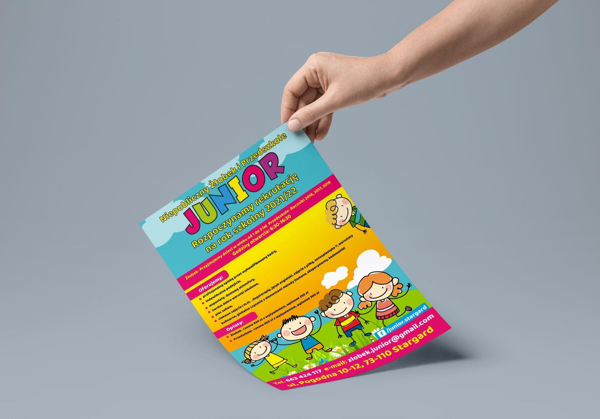 Wykonanie Plakatów dla Niepublicznego Żłobka i Przedszkola Junior