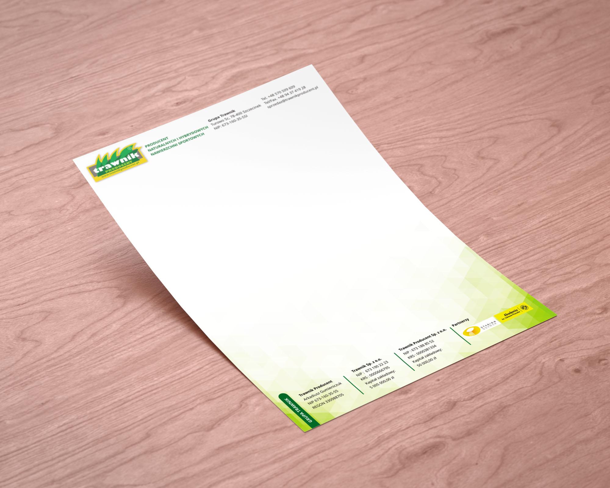 Papier firmowy dla Trawnik Producent
