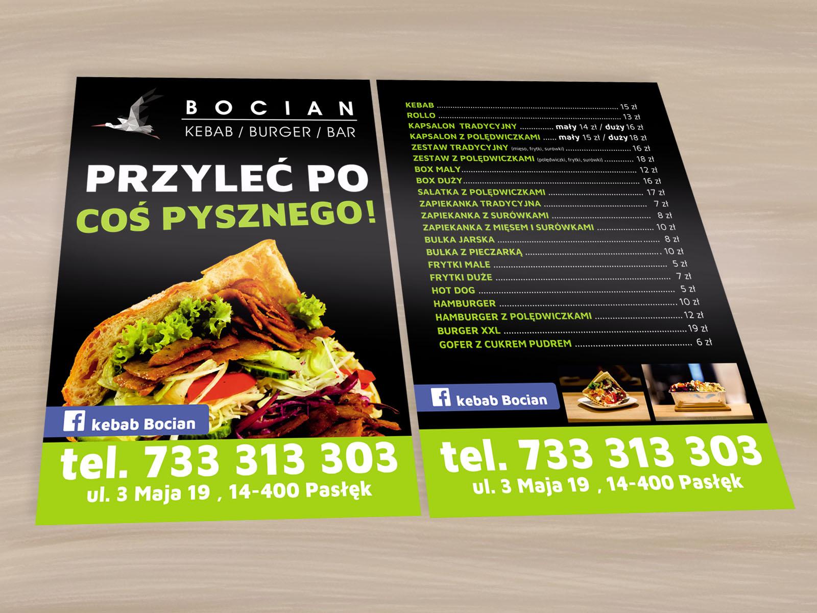 Wykonanie ulotek dla baru Bocian z Pasłęka