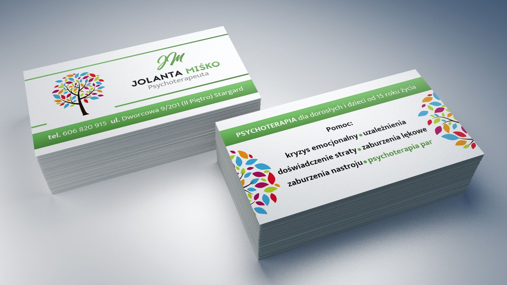 Wizytówki dla Psychoterapeuty Jolanty Miśko
